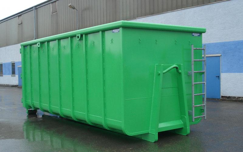 Abrollcontainer von Beringer in grün, rund mit Spanten und Steigleiter